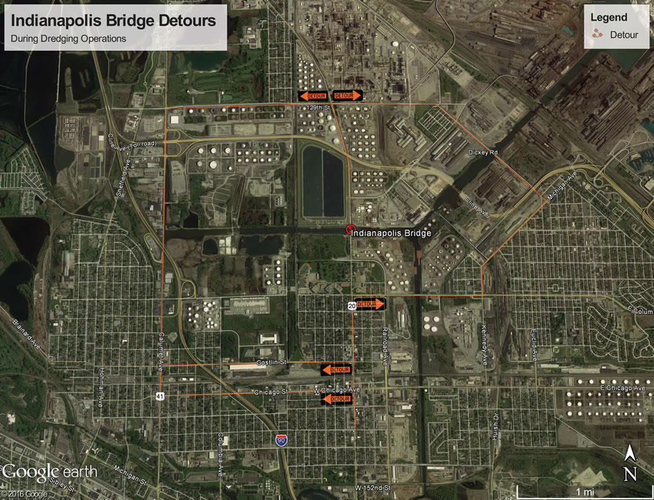 Map showing Indianapolis Bridge detour routes during dredging operations.